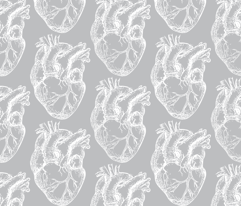 Hearts Anatomical White on Gray fabric by beththompsonart on Spoonflower - custom fabric