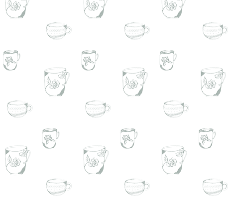 sketched_teacup_trio-sage blue fabric by jennifer_rizzo on Spoonflower - custom fabric