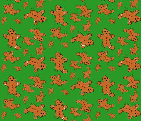 Gingerbread Men Green fabric by interrobangart on Spoonflower - custom fabric