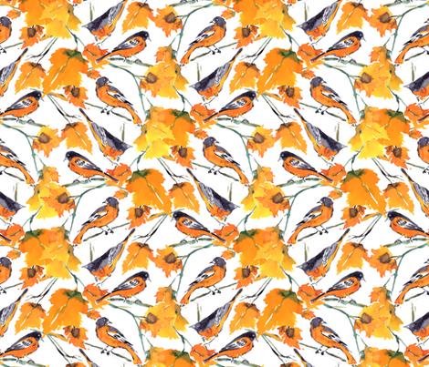 Birds In Autumn fabric by mjmstudio on Spoonflower - custom fabric