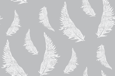 Feather Illustration White on Gray