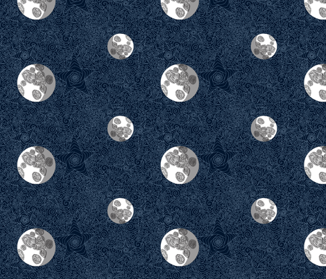 Blue Stars, Bright Moons fabric by inspired_me_studio on Spoonflower - custom fabric