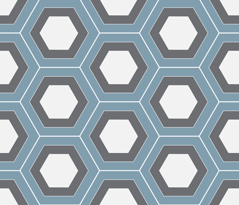 Layered Hexagons Wedgwood fabric by beththompsonart on Spoonflower - custom fabric