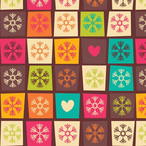 Christmas Snowflake Pattern with squares 01