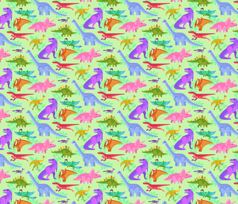 Colorful Dinos! fabric by westgateillustrates on Spoonflower - custom fabric
