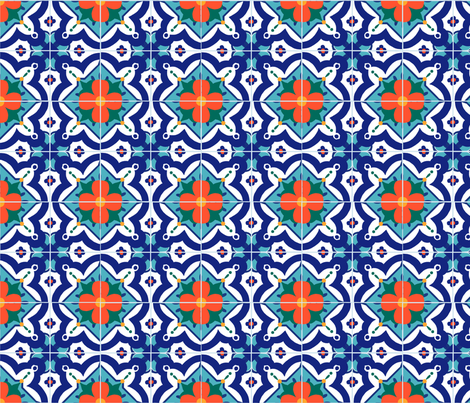 Azulejo Flor fabric by susanbrand on Spoonflower - custom fabric