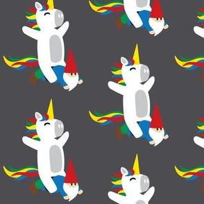 Unicorns and Gnomes on Grey