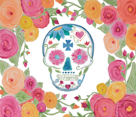 Sugar Skull With Roses Wallpaper Alchemyhome Spoonflower