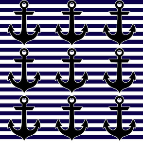 Danita's Blue & White Stripes With Anchors