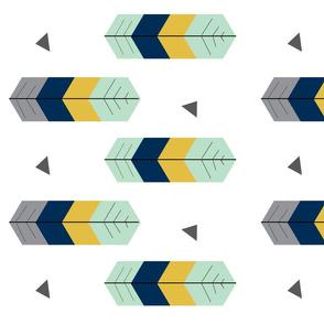 Feather Arrow - Mint, Mustard, Navy, Grey
