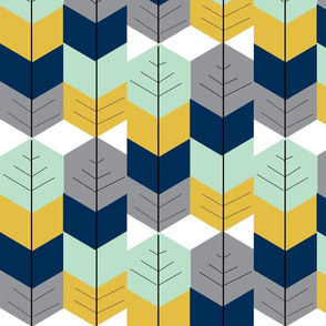 Feather Arrow Herringbone - Navy, Mustard, Grey Mint
