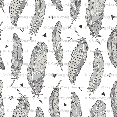 Feathers and triangles in Grey