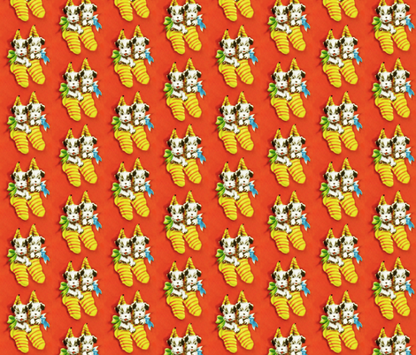 Puppies in Stockings fabric by hollywood_royalty on Spoonflower - custom fabric