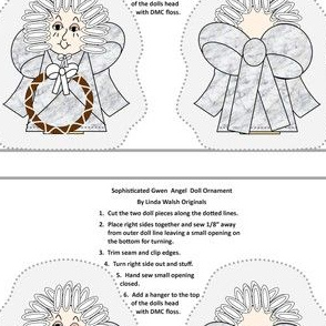 Sophisticated Gwen Cut and Sew Doll Angel Ornament
