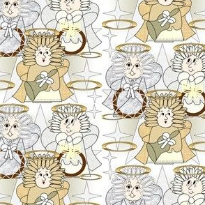 Angels Christmas Holiday Fabric 2