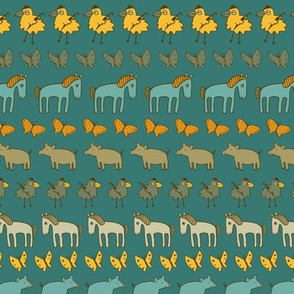 Striped Pigs and Ponies - Teal and Yellow