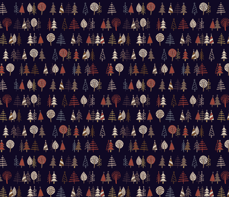 Gingerbread Trees - Black Coffee - small scale fabric by cecca on Spoonflower - custom fabric