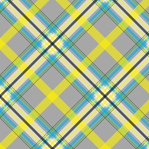 Dean's Yellow, White and Blue Plaid on Gray