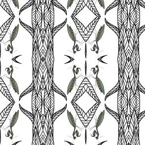 Geometric Praying Mantis On Black And White Leaves.
