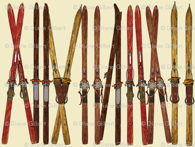 vintage ski lineup decor by Diane Gilbert