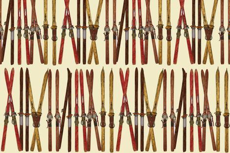 vintage ski lineup decor by Diane Gilbert fabric by diane_gilbert on Spoonflower - custom fabric