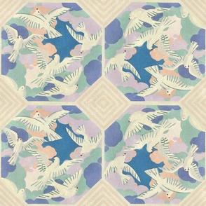 Vintage Bird Tiles Orange