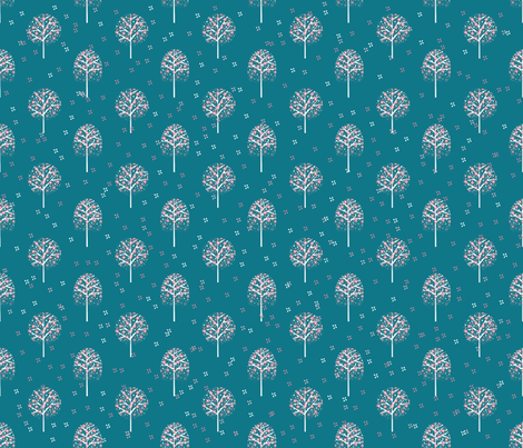 arbre Aurélie bleu canard  fabric by un_temps_de_coton on Spoonflower - custom fabric