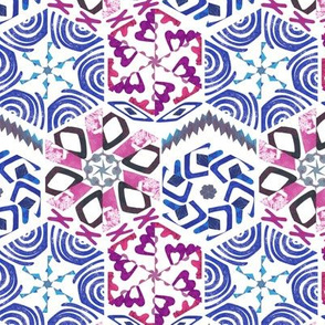 Snowflake Winter Cut Paper Blue and Purple