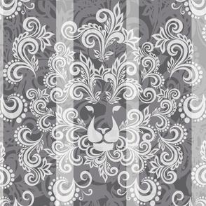 Charcoal Damask Lion