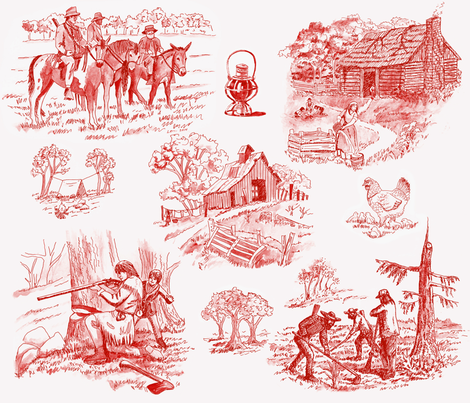 Starting_all_over_toile_red fabric by leroyj on Spoonflower - custom fabric
