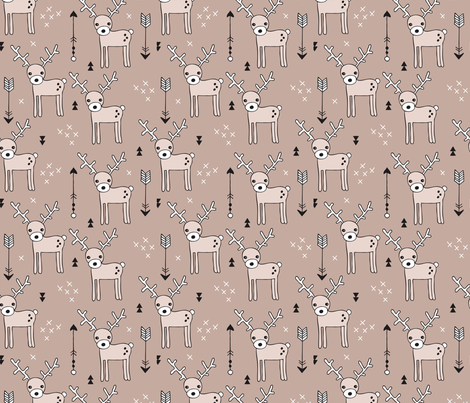 Cute winter reindeer christmas theme illustration with geometric arrows and triangles in beige fabric by littlesmilemakers on Spoonflower - custom fabric