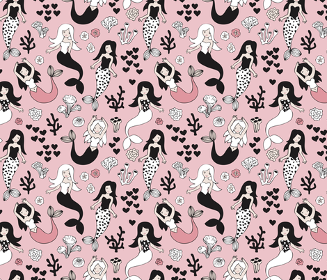 Sweet little mermaid girls theme with deep sea ocean coral illustration details in pink black and white fabric by littlesmilemakers on Spoonflower - custom fabric