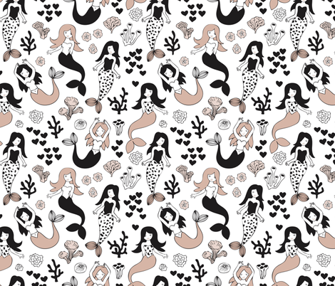 Sweet little mermaid girls theme with deep sea ocean coral illustration details in beige black and white fabric by littlesmilemakers on Spoonflower - custom fabric