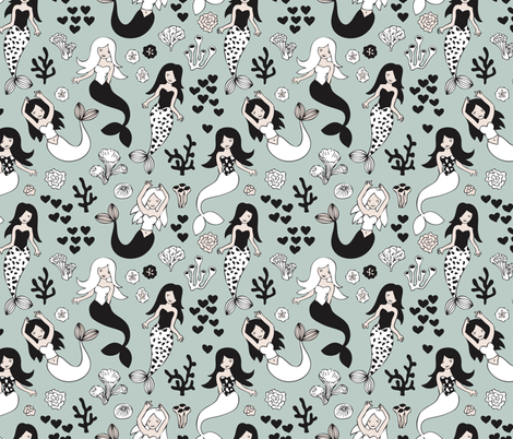 Sweet little mermaid girls theme with deep sea ocean coral illustration details in green black and white fabric by littlesmilemakers on Spoonflower - custom fabric