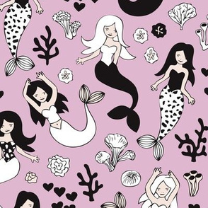 Sweet little mermaid girls theme with deep sea ocean coral illustration details in violet black and white