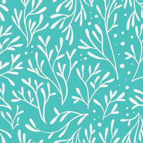 Coral Leaf Dots (Teal)