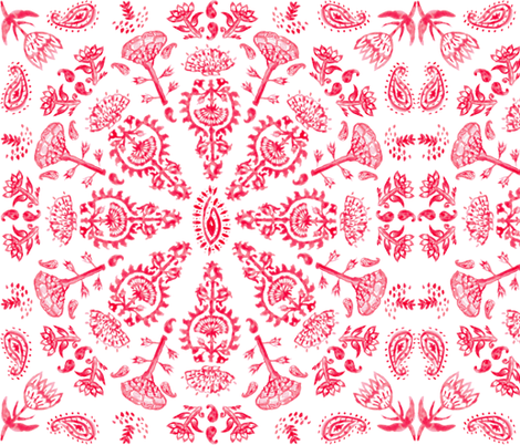 Bohemian India Print in Red Watercolor + White Linen fabric by elliottdesignfactory on Spoonflower - custom fabric