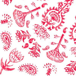 Bohemian India Print in Red Watercolor + White Linen