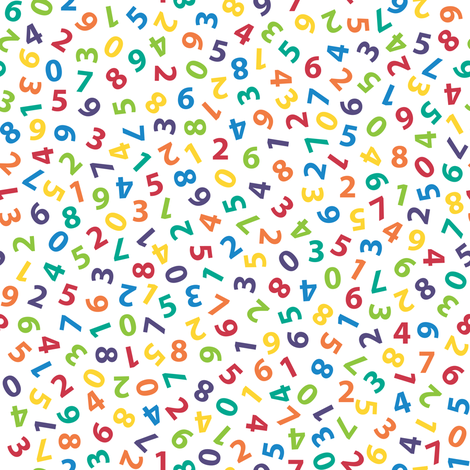 ditsy rainbow numbers fabric by weavingmajor on Spoonflower - custom fabric