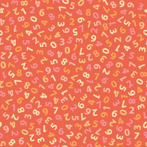 ditsy dot pink numbers on vermilion fabric by weavingmajor on Spoonflower - custom fabric