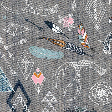Gypsy Spirit (denim/pink) fabric by nouveau_bohemian on Spoonflower - custom fabric