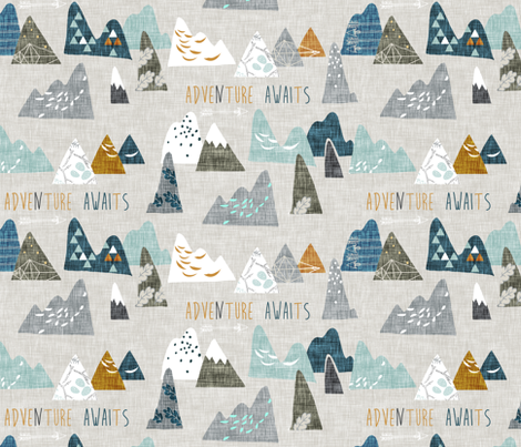 Adventure Awaits (earth) REGULAR fabric by nouveau_bohemian on Spoonflower - custom fabric