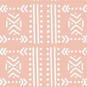 Mudcloth No.4 in Blush + White