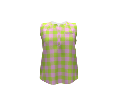 90's Buffalo Check Plaid in Light Pink/Lime Green