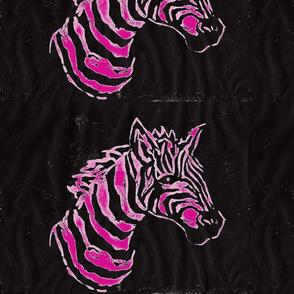African Zebra Block print: hot pink/black Zebra on black