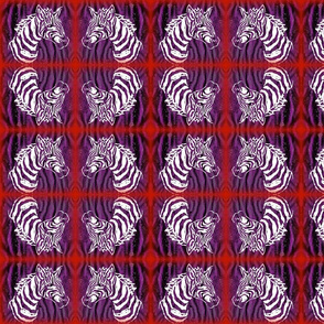 Block print of purple white African Zebra on purple/black/red: mirror image
