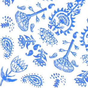 Bohemian India Print in Blue Chinoiserie Watercolor + White Linen