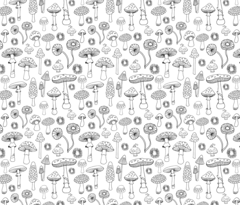 PNW Champignons  fabric by snowflower on Spoonflower - custom fabric