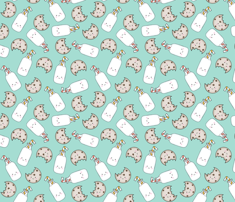 Cookies and Milk Mint (large scale) fabric by sylviaoh on Spoonflower - custom fabric