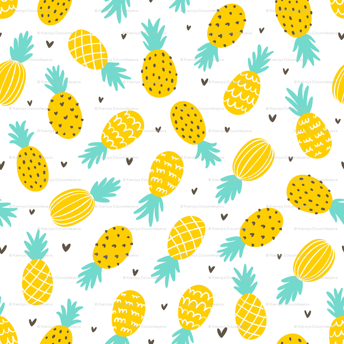 Pineapple Hearts Large Scale Wallpaper